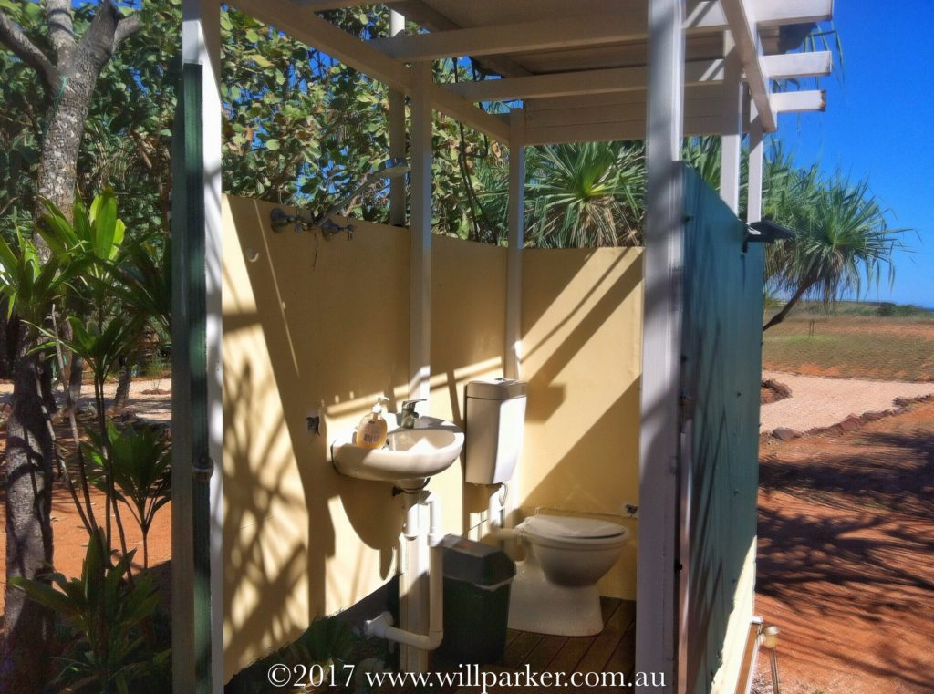 Inside the Eco Tent Ablution Block.