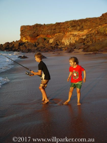 Fishing fun on the beach at Mercedes Cove.
